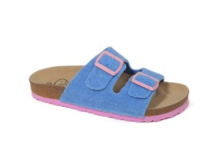 Women Double Buckled Felt Slippers